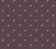 Seamless knitting pattern with hearts. Saint Valentine's Day seamless knitting pattern with hearts Stock Images