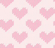 Seamless knitting pattern with hearts. Saint Valentine's Day seamless knitting pattern with hearts Stock Photos
