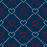 Seamless Knitting Pattern with Hearts. Valentine's Day Background. Seamless Pattern on the Wool Knitted Texture. EPS available Stock Photography