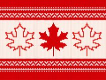 Seamless knitting pattern - Maple leaves and ornamental stripes Royalty Free Stock Photo