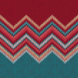Seamless knitting pattern with wave ornament Stock Image