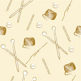 Seamless knitting tools and buttons pattern Royalty Free Stock Images