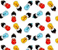 Seamless kokeshi dolls. Seamless abstract illustration of the traditional japanese dolls in three different outfits and moods Royalty Free Stock Photos