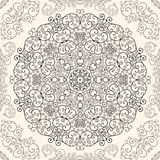 Seamless lace background. Round seamless ornament dark line on a light background Stock Images