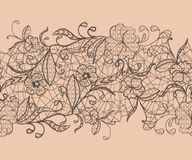 Seamless lace black ribbon on a pink background. For issuing invitations and greeting cards. Stock Photos