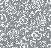 Seamless lace floral pattern on gray background Royalty Free Stock Image
