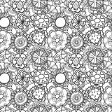 Seamless lace floral pattern on white background Stock Photos
