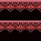 Seamless lace lacy pattern on black Royalty Free Stock Photo