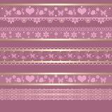 Seamless lace lacy ribbon pattern washi tapes on retro backgroun Stock Image