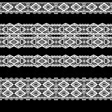 Seamless lace lacy washi tapes pattern on black background Stock Photo