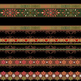 Seamless lace lacy washi tapes pattern on black background Royalty Free Stock Photography