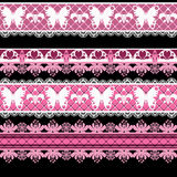 Seamless lace lacy washi tapes pattern on white background Stock Images