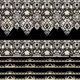 Seamless lace lacy washi tapes ribbon pattern on black Stock Images