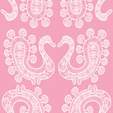 Seamless lace pattern with birds Royalty Free Stock Photo