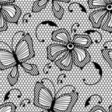 Seamless lace pattern with butterflies and flowers Royalty Free Stock Photo