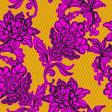 Seamless  lace pattern with floral motifs. Mexican style. Floral delicate line art, tulle background Stock Images