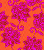 Seamless  lace pattern with floral motifs. Mexican style. Seamless  lace pattern with floral motifs. Mexican style, gentle decorative florals, tulle background Royalty Free Stock Images