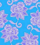 Seamless  lace pattern with floral motifs. Mexican style. Seamless  lace pattern with floral motifs. Mexican style, gentle decorative florals, tulle background Royalty Free Stock Image