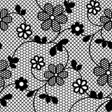 Seamless lace pattern with flowering branch. Lace flowers seamless pattern. Vector illustration. Lace black seamless pattern with flowers on white background vector illustration