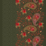 Seamless lace pattern with paisley and roses. Vector background. Traditional eastern ornament.  Trendy green and red  print. Use for textile design, pattern Royalty Free Stock Image