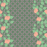 Seamless lace pattern with roses. Grating background. Royalty Free Stock Images