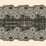 Seamless lace ribbon with black cloth in the center. For the design of wedding cards and invitations in vintage style. Stock Image