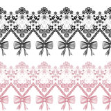 Seamless lace ribbon pattern on white background Royalty Free Stock Photos