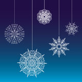 Seamless lace snowflakes on on threads background Stock Images