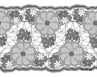 Seamless lace tape. Grid and floral elements isolated on white background. Royalty Free Stock Image