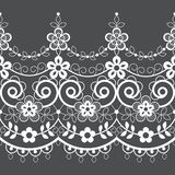 Seamless lace vector vector pattern, white retro ornamental repetitive design with flowers - greeting card, textile design vector illustration