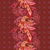 Seamless lace vertical pattern with paisley and birds. Stock Photos