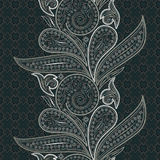 Seamless lace vertical pattern with paisley and flowers. Royalty Free Stock Image