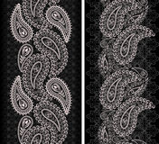 Seamless lace vertical pattern with paisley . Vector set of2. Traditional black and white ethnic ornament,decorative  print for garment .Dark background Stock Photo