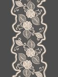 Seamless lace vertical ribbon with abstract floral pattern. Royalty Free Stock Photos