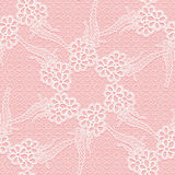 Seamless lace. White floral pattern on a pink background. Stock Photography