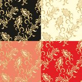 Set of samless laced floral pattern Royalty Free Stock Photo
