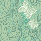 Seamless lacy pattern with flowers and butterflies Royalty Free Stock Photography