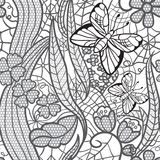 Seamless lacy pattern with flowers and butterflies Stock Photography