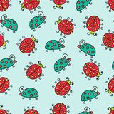 Seamless lady bug illustration background pattern Royalty Free Stock Photos