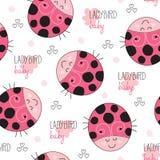 Seamless ladybird pattern vector illustration Stock Photos