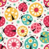 Seamless ladybug background. Seamless colorful ladybug cartoon background Vector Illustration