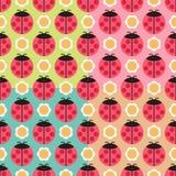 Seamless ladybug background. With flower Stock Illustration
