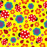 Seamless ladybug background. The image with ladybugs, flowers and hearts Stock Images