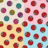 Seamless ladybug fabric pattern. Seamless cartoon ladybug fabric pattern Vector Illustration