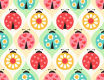 Seamless ladybug insects pattern Stock Photo