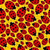 Seamless Ladybug Pattern. Seamless Repeating Ladybug Pattern on a yellow background Stock Photos