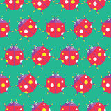 Seamless ladybug pattern icon  Stock Photos