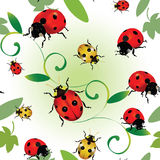 Seamless ladybugs. Seamless colourful pattern with ladybugs and leaves Royalty Free Stock Photography