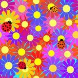 Seamless ladybugs and flowers. Royalty Free Stock Photos