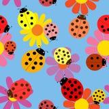 Seamless ladybugs and flowers. Stock Photos